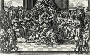 L'Empereur entouré des princes électeurs. Gravure de 1663/64. Source : Wikimedia Commons.