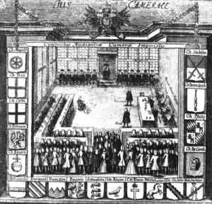 Audience au Tribunal de la Chambre Impériale. Gravure 1750. Source : Wikimedia Commons