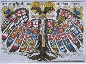 L'aigle bicéphale portant les états du Saint-Empire. Gravure de 1510. Source : Wikimedia Commons.